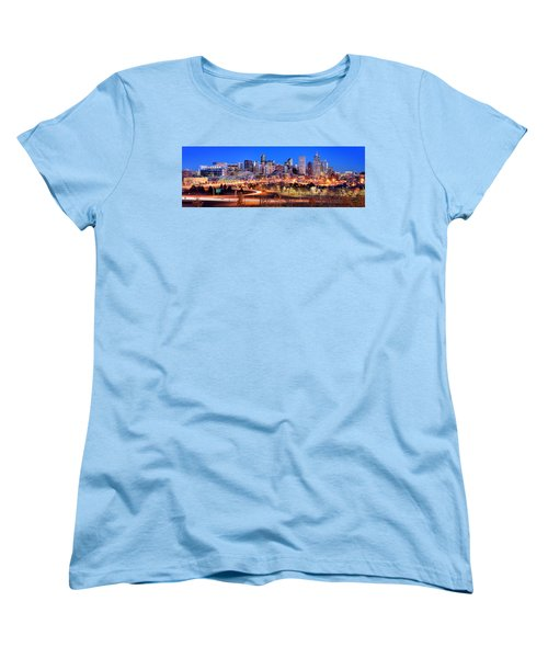 Women's T-Shirt (Standard Cut) featuring the photograph Denver Skyline At Dusk Evening Color Evening Panorama Broncos Colorado  by Jon Holiday