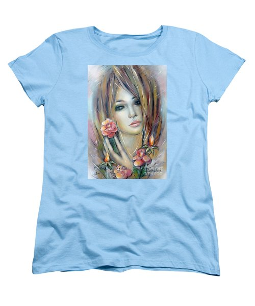 Doll With Roses 010111 Women's T-Shirt (Standard Cut) by Selena Boron