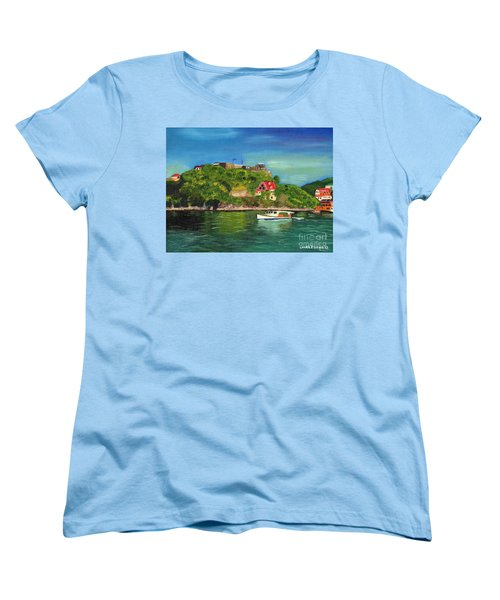 Women's T-Shirt (Standard Cut) featuring the painting Fort George Grenada by Laura Forde