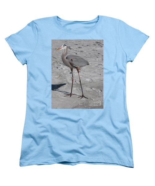 Great Blue Heron On The Beach Women's T-Shirt (Standard Cut) by Christiane Schulze Art And Photography
