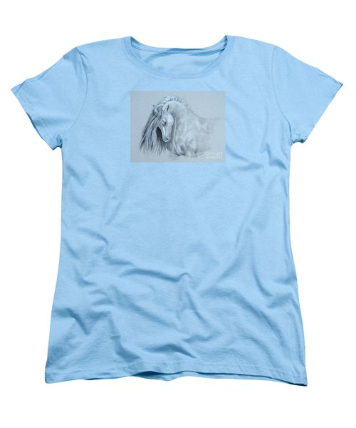Women's T-Shirt (Standard Cut) featuring the painting Grey Horse by Laurianna Taylor