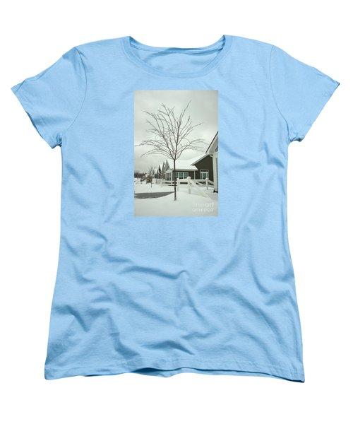 Hello Snow Women's T-Shirt (Standard Cut) by Roberta Byram