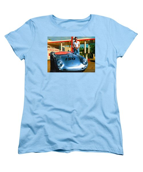James Dean Filling His Spyder With Gas Women's T-Shirt (Standard Cut) by Doc Braham