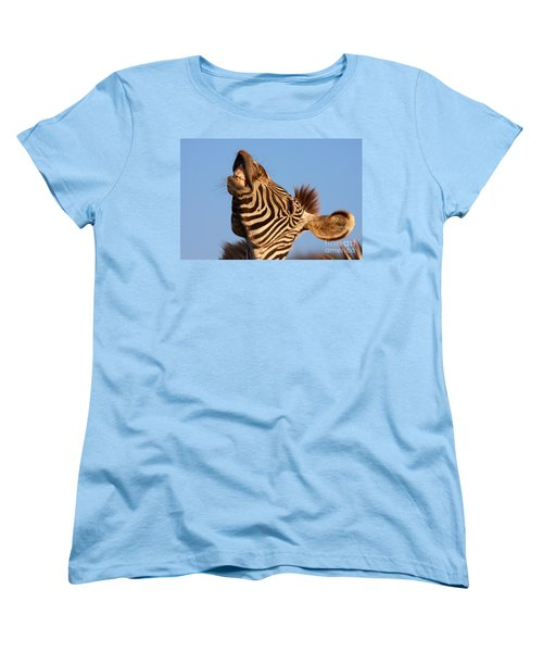 Laughing Zebra Women's T-Shirt (Standard Cut) by Nick  Biemans