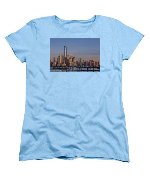 Lower Manhattan Skyline Women's T-Shirt (Standard Cut) by Susan Candelario