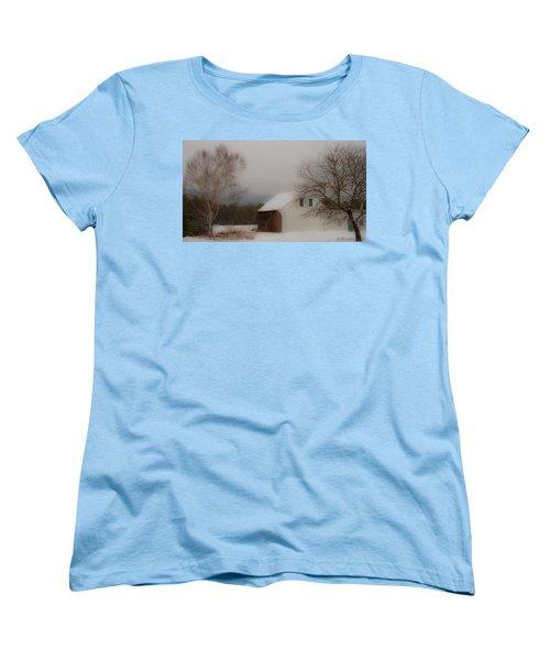 Women's T-Shirt (Standard Cut) featuring the photograph Melvin Village Barn by Brenda Jacobs