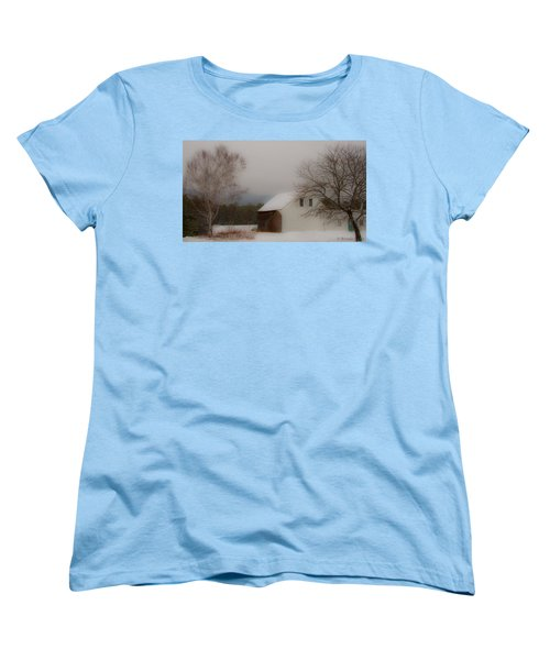 Women's T-Shirt (Standard Cut) featuring the photograph Melvin Village Barn In Winter by Brenda Jacobs