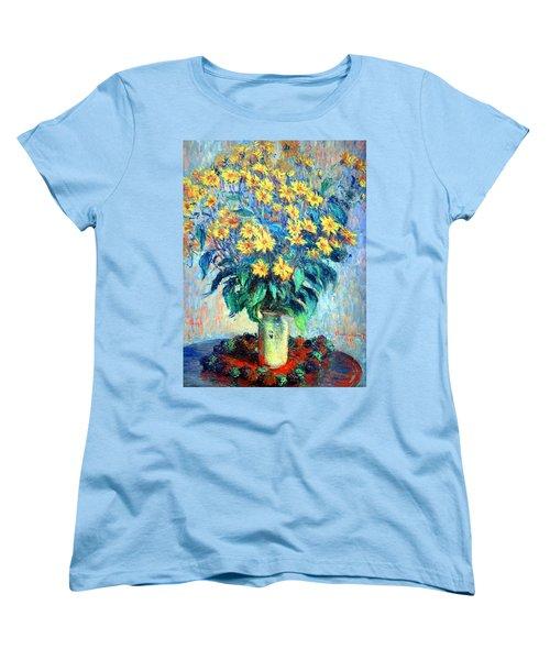 Women's T-Shirt (Standard Cut) featuring the photograph Monet's Jerusalem  Artichoke Flowers by Cora Wandel