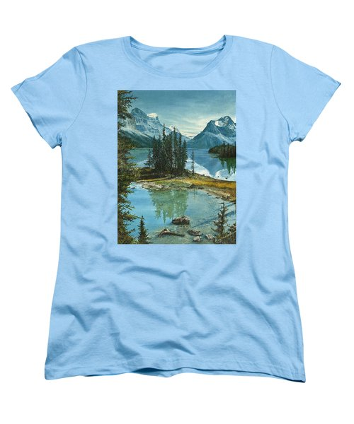 Women's T-Shirt (Standard Cut) featuring the painting Mountain Island Sanctuary by Mary Ellen Anderson