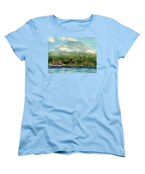 Women's T-Shirt (Standard Cut) featuring the painting Mt. Agung Bali Indonesia by Melly Terpening