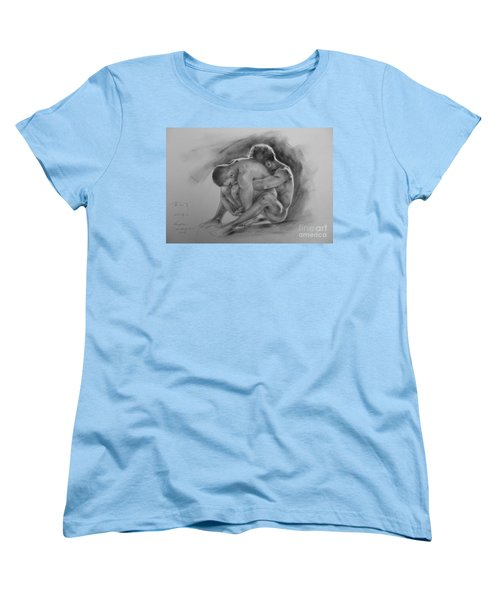 Original Drawing Sketch Charcoal Chalk  Gay Man Portrait Of Cowboy Art Pencil On Paper By Hongtao  Women's T-Shirt (Standard Cut) by Hongtao     Huang