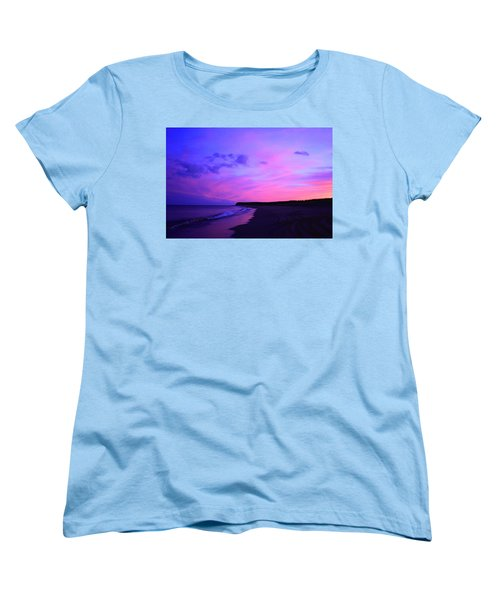 Pink Sky And Beach Women's T-Shirt (Standard Cut) by Jason Lees