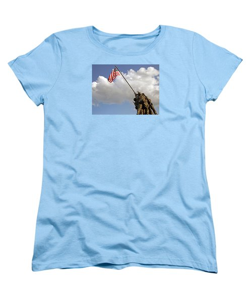 Women's T-Shirt (Standard Cut) featuring the photograph Raising The American Flag by Cora Wandel