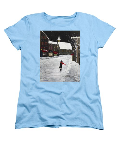 Red Scarf Winter Scene Women's T-Shirt (Standard Cut) by Dick Bourgault