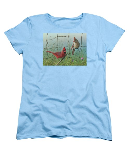 Women's T-Shirt (Standard Cut) featuring the painting Scarlet by Mike Brown