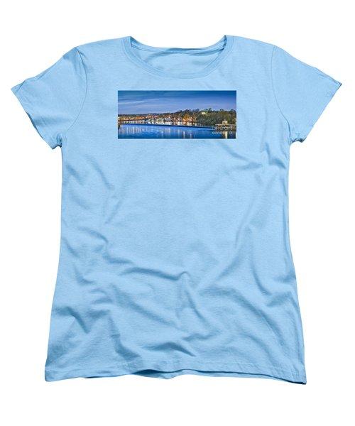 Schuylkill River  Boathouse Row Lit At Night  Women's T-Shirt (Standard Cut) by David Zanzinger