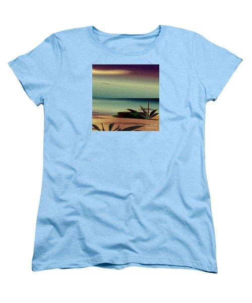 Women's T-Shirt (Standard Cut) featuring the drawing Sunset On The Beach by Iris Gelbart