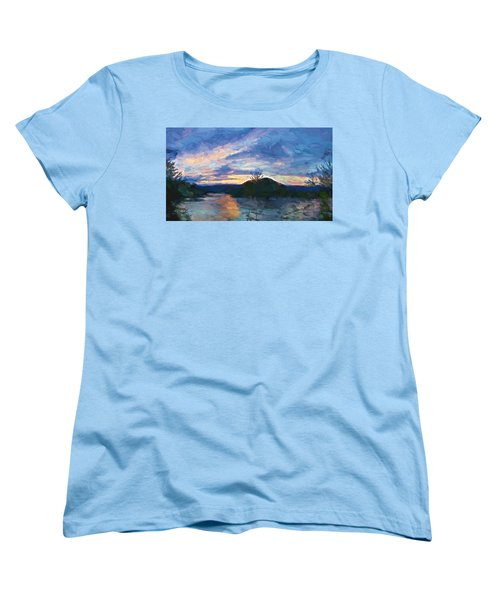 Sunset Pano - Watauga Lake Women's T-Shirt (Standard Cut) by Tom Culver