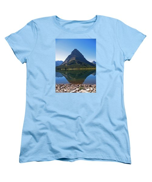 Women's T-Shirt (Standard Cut) featuring the photograph Swiftcurrent  Lake Many Glacier by Joseph J Stevens