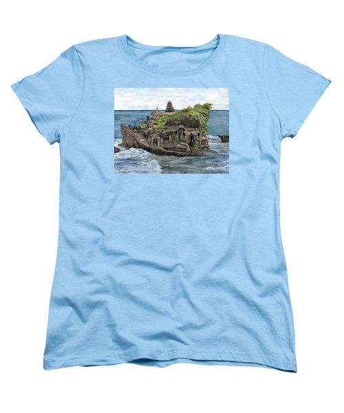 Women's T-Shirt (Standard Cut) featuring the painting Tanah Lot Temple Bali Indonesia by Melly Terpening
