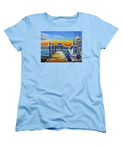 Women's T-Shirt (Standard Cut) featuring the painting Tauranga Marina 180412 by Selena Boron