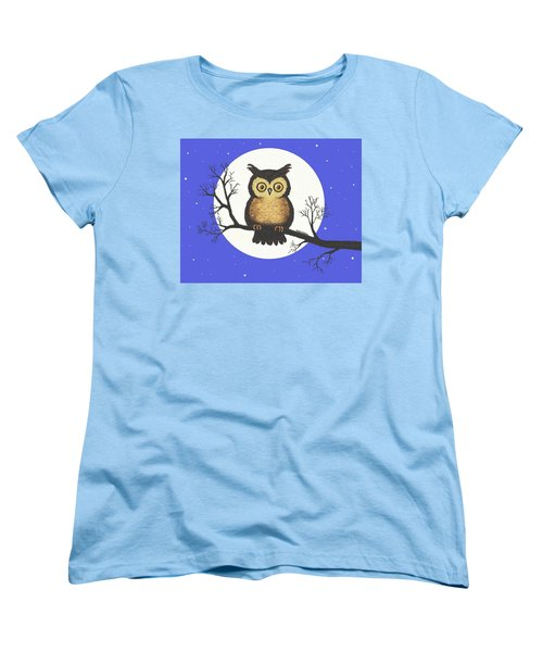 Women's T-Shirt (Standard Cut) featuring the painting Whooo You Lookin' At by Sophia Schmierer