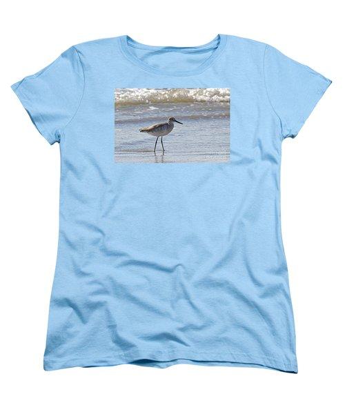 Willet Bird Wading In Ocean Surf Women's T-Shirt (Standard Cut) by Kevin McCarthy