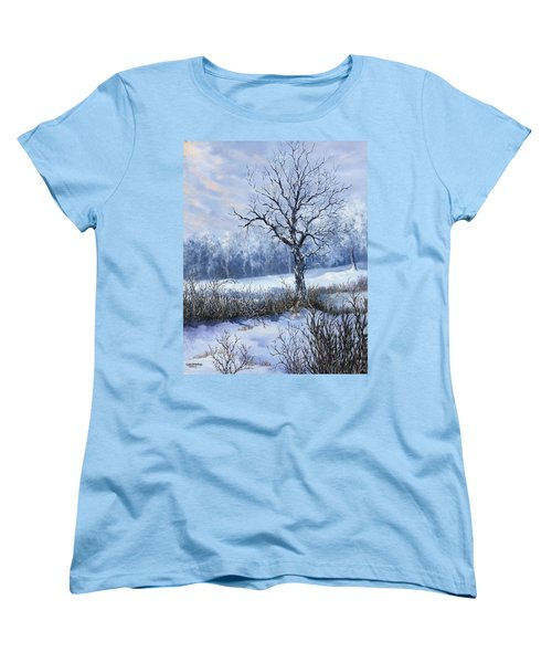 Women's T-Shirt (Standard Cut) featuring the painting Winter Slumber by Lynne Wright
