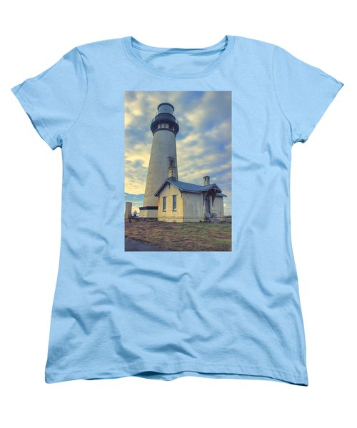 Yaquina Head Lighthouse Women's T-Shirt (Standard Cut) by Cathy Anderson