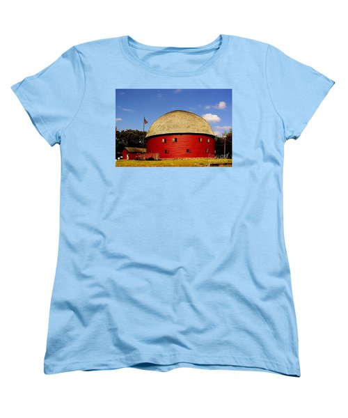 Women's T-Shirt (Standard Cut) featuring the photograph 100 Year Old Round Red Barn  by Janette Boyd