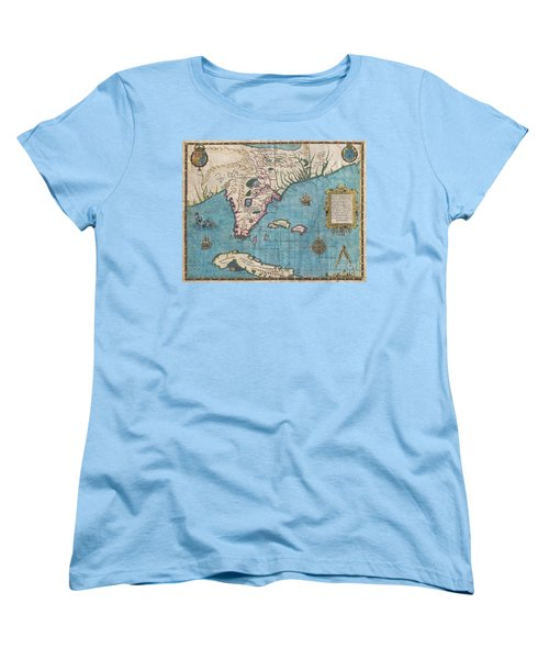 1591 De Bry And Le Moyne Map Of Florida And Cuba Women's T-Shirt (Standard Cut) by Paul Fearn