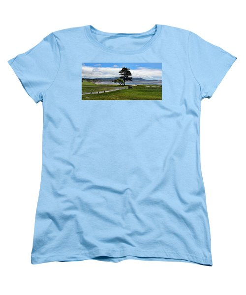 18th At Pebble Beach Panorama Women's T-Shirt (Standard Cut) by Judy Vincent
