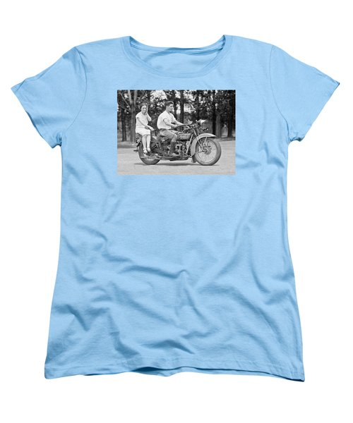 1930s Motorcycle Touring Women's T-Shirt (Standard Cut) by Daniel Hagerman