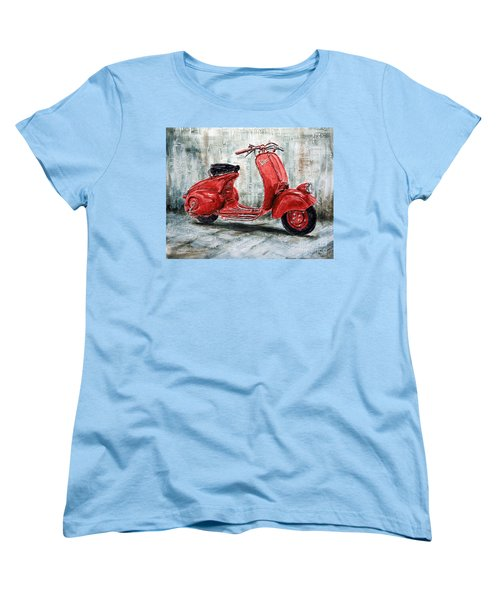 1947 Vespa 98 Scooter Women's T-Shirt (Standard Cut) by Joey Agbayani