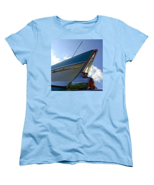 Women's T-Shirt (Standard Cut) featuring the photograph 1957 Chevrolet Bel Air Fin by Joseph Skompski