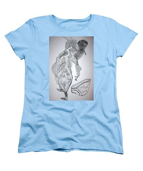 Women's T-Shirt (Standard Cut) featuring the drawing Bakiga Dance - Uganda by Gloria Ssali