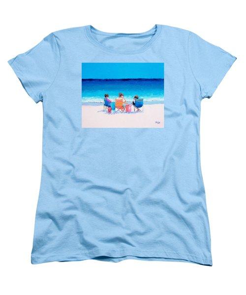 Beach Painting 'girl Friends' By Jan Matson Women's T-Shirt (Standard Cut) by Jan Matson