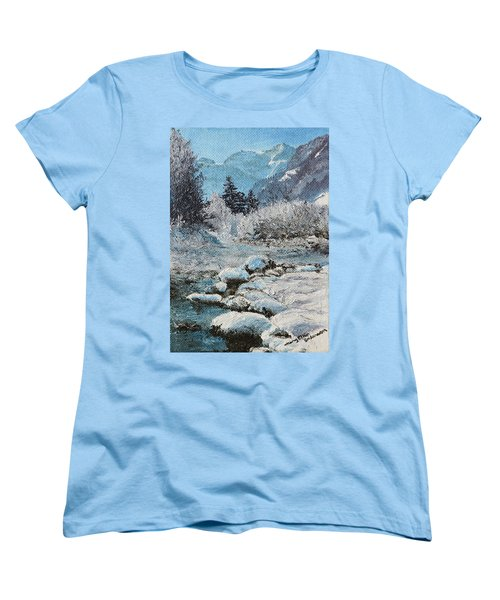 Women's T-Shirt (Standard Cut) featuring the painting Blue Winter by Mary Ellen Anderson