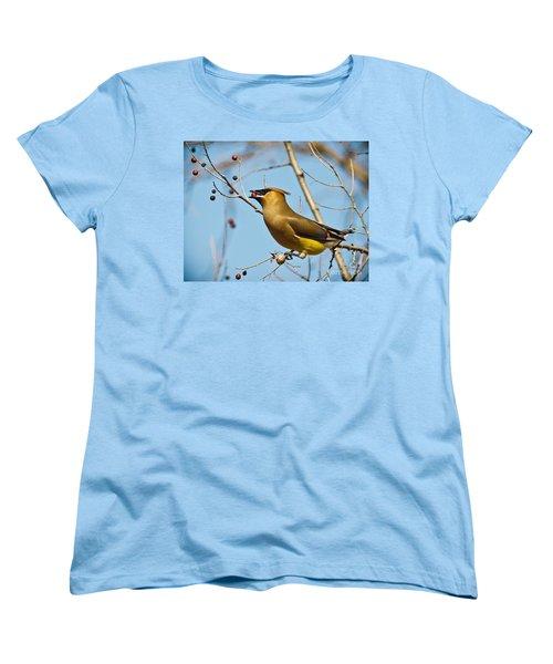 Cedar Waxwing With Berry Women's T-Shirt (Standard Cut) by Robert Frederick