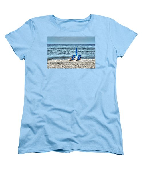 Women's T-Shirt (Standard Cut) featuring the digital art 2 Chairs And Umbrella by Michael Thomas