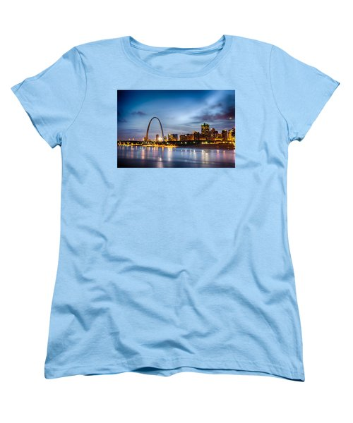 City Of St. Louis Skyline. Image Of St. Louis Downtown With Gate Women's T-Shirt (Standard Cut) by Alex Grichenko