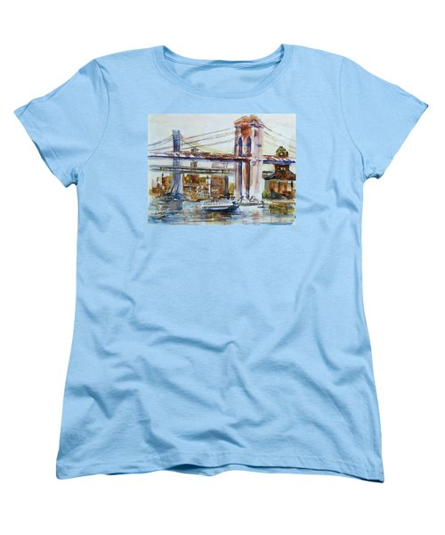 Women's T-Shirt (Standard Cut) featuring the painting Downtown Bridge by Xueling Zou