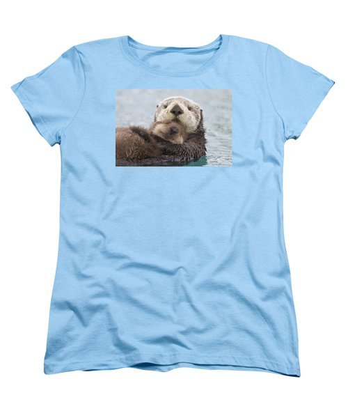 Female Sea Otter Holding Newborn Pup Women's T-Shirt (Standard Fit)