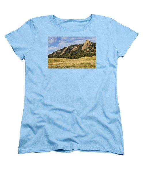 Flatirons With Golden Grass Boulder Colorado Women's T-Shirt (Standard Cut) by James BO  Insogna
