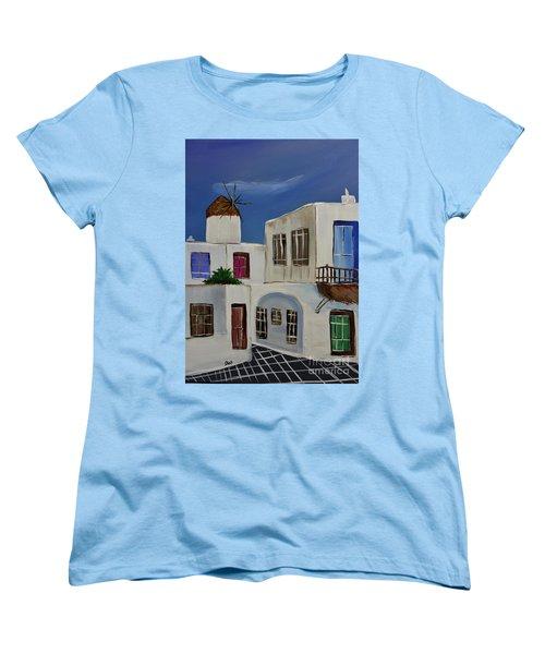 Women's T-Shirt (Standard Cut) featuring the painting Greek Village by Janice Rae Pariza