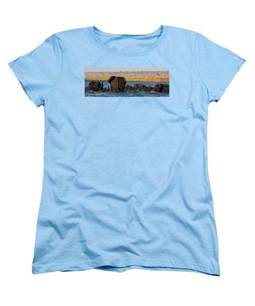 Women's T-Shirt (Standard Cut) featuring the photograph Kalahari Elephants Crossing Chobe River by Amanda Stadther