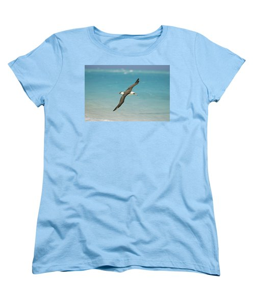 Laysan Albatross Flying Midway Atoll Women's T-Shirt (Standard Cut) by Tui De Roy