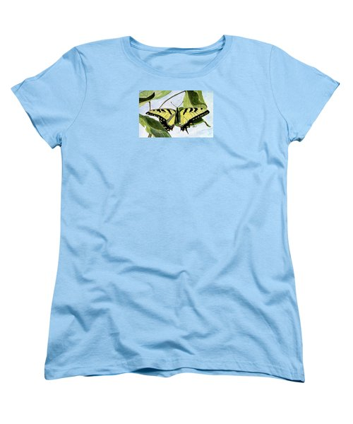 Women's T-Shirt (Standard Cut) featuring the painting Male Eastern Tiger Swallowtail by Angela Davies