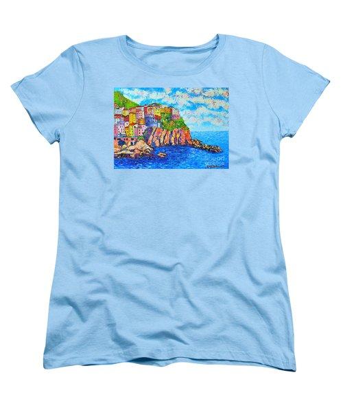Manarola Cinque Terre Italy  Women's T-Shirt (Standard Cut) by Ana Maria Edulescu