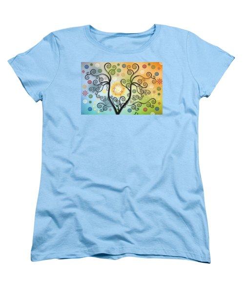 Women's T-Shirt (Standard Cut) featuring the digital art Moon Swirl Tree by Kim Prowse